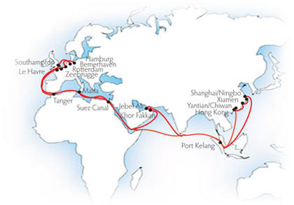 CMA CGM Marco Polo cruise itinerary map from UK (Southampton round-trip)